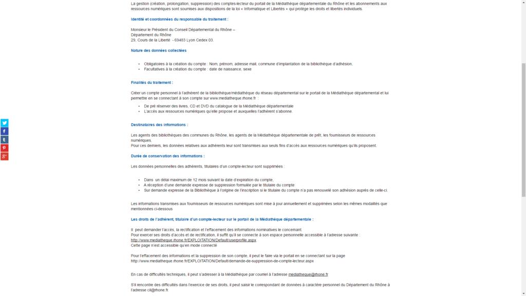 Les mentions légales de la médiathèque départementale  du Rhône