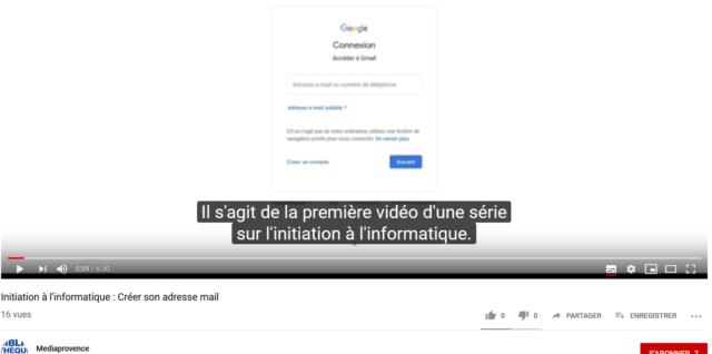 Tutoriel vidéo informatique fait par la médiathèque départementale des Bouches-du-Rhône